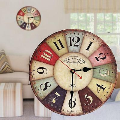 Large Vintage Wooden Wall Clock Antique Shabby Chic Retro Home Living Room DecR