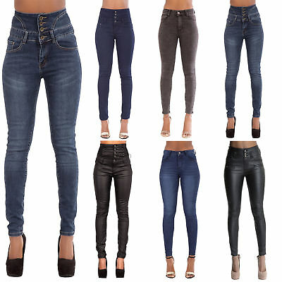 6820b42926a9 WOMEN'S FADED HIGH WAISTED JEANS Ladies Skinny Slim Leather Look Denim SIZE  6-20