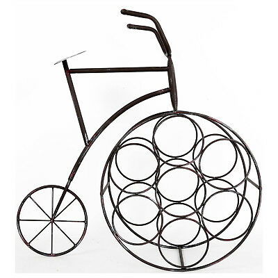 Metal Penny Farthing Bicycle Style Shape Wine Rack Bottle Holder Stand Storage