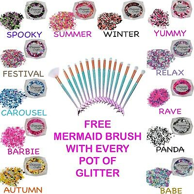 FREE Mermaid Brush - with EVERY pot Circles Chunky Glitter - Festival Makeup