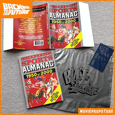 BACK TO THE FUTURE Grays SPORTS ALMANAC Movie Prop + bill & bag