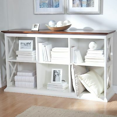 White Oak Finish 6 Shelf Cubby Bookcase Console Table Home Living Room Furniture