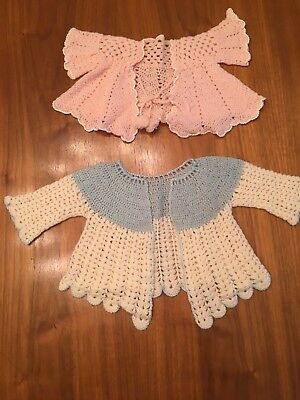 Vintage Crochet Baby Girl Sweater 0-3 Lot Of 2 Pink Blue Handmade Shirt