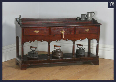 Antique Welsh Georgian Solid Oak Dining Room Potboard Low Dresser Base Sideboard