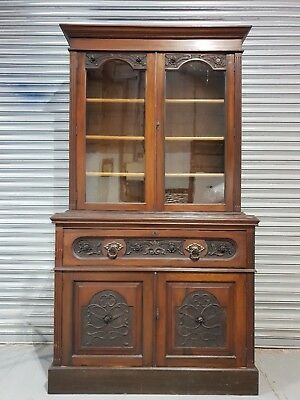 Antique Victorian Carved Oak & Mahogany Secretaire Bureau Bookcase