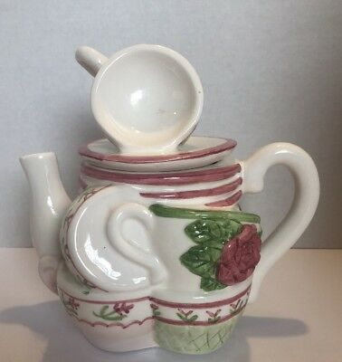 Cardinal Tea Pot with Green and Pink Roses and Cups