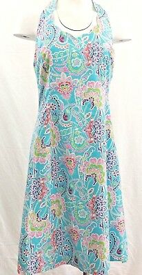 907e4fc67b ROBBIE BEE HALTER Floral Tea Sundress Blue Lined Fit Flare Dress Sz ...