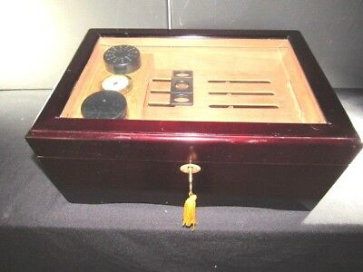Cedar Cigar Humidor Storage Box Case w/ Humidifier Hygrometer Top Glass Handles