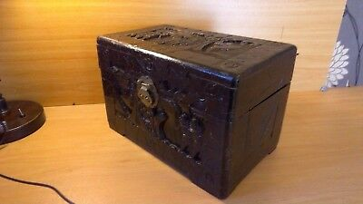 Antique Camphor wood chest. Chinese carving.