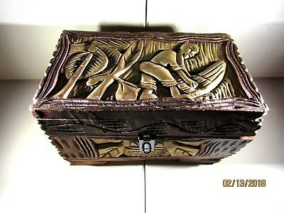Antique Chinese wood hand carved trinket jewelry organizer box