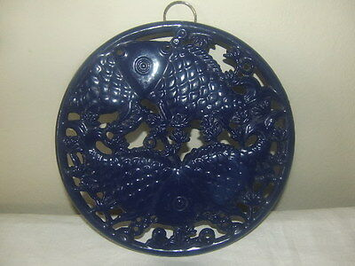 Cast Iron Shabby Chic Ornate Fish Wall Decor or Hot Plate Hold Royal Blue