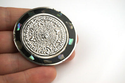 Vintage  Aztec Style Alpaca Mexican Round Abstract Abalone Shell Brooch