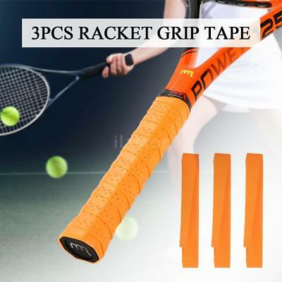 Pack of 3 Tennis Racket Overgrips Anti-skid Perforated Sweat Tape Badminton H9E8