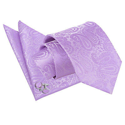 DQT Woven Floral Paisley Lilac Classic Skinny Tie Hanky Cufflinks Set