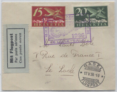 1926 Small Airmail Cover to Le Locle Commemorative Cancel Sc #C3-C4