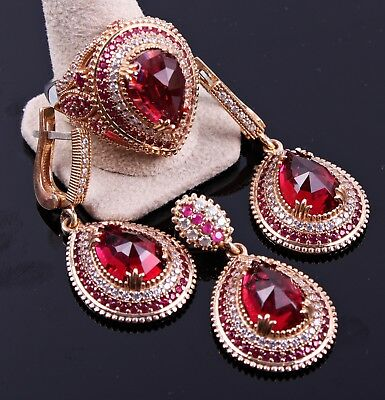 ladies woman set RUBY STONE turkish handmade 925 sterling silver Red ALL SİZEus