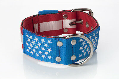 Embroidered Strong Nylon Dog Collar USA Flag (american bulldog, Pitbull etc) MAG