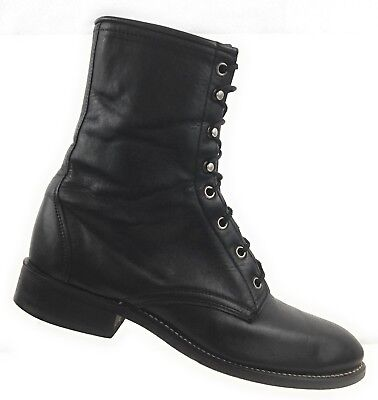43585212b5a85 VINTAGE LAREDO WOMENS Black Roper Leather Lace Up Combat Boots Size 8D USA