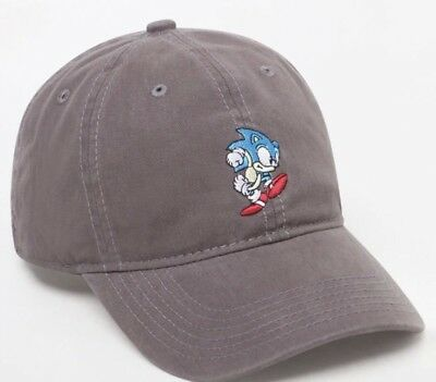 SONIC THE HEDGEHOG Gray Sonic Logo Dad Strapback Hat Unisex NEW ... 013e1f192ab9