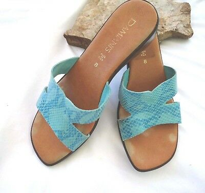 8e2d15c853 Damiani's Womens Sandals size 8 Shoes wedge Slides Leather snake Aqua Italy