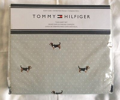 Tommy Hilfiger NEW Basset Hound Dog Easy Care Sheet Set Gray Cotton Poly Twin
