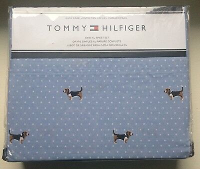 Tommy Hilfiger NEW Basset Hound Dog Easy Care Sheet Set Blue Cotton Poly Twin XL