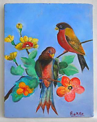 Ornithology Folk Naive Vintage Original Painting Red Robin Bird Flowers Rolle