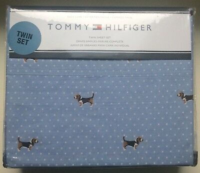 Tommy Hilfiger NEW Basset Hound Dog Easy Care Sheet Set Blue Cotton Poly Twin