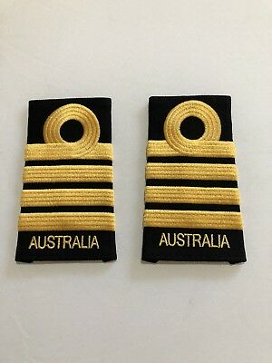 GENUINE PAIR  of SRI Captain Epaulettes -  Royal Australian Navy RAN BRAND NEW