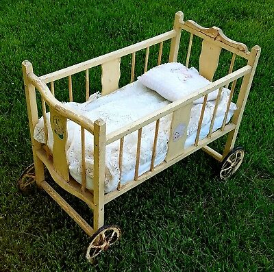 Vintage Rare Wooden Crib Baby Doll Bed Litho Decals Wheels Antique So Precious