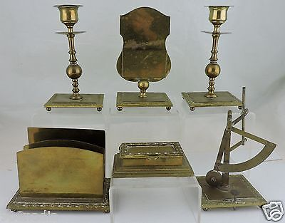 Antique Brass Desk Set 6 Austria Candlesticks Scale Inkwell Card Letter