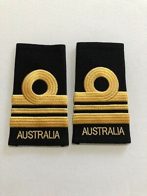 GENUINE PAIR  of SRI Lieutenant Commander  Epaulettes Australian Navy New LCDR