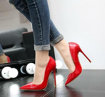 12cm Stilettos Womens Pointed Toe Patent Leather Casual Wedding High Heels Shoes