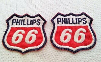 Vintage Embroidered PATCH Phillips 66 Logo Gas Oil Set of 2 Good Condition Red