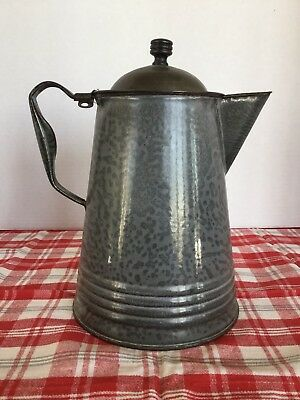 Large Antique Agate Coffee Pot Grey Graniteware With Tin Lid Vintage Farm House