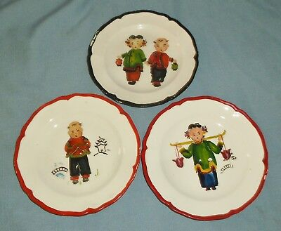 Vintage Lot of 3 Hand Painted Side Plates Japanese Oriental Boys & Girls