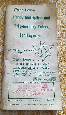 Vintage Carr Lane Trigonometry Tables & Handy Reference For Engineers