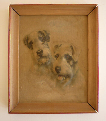 """Wire-Haired Fox Terriers - Embossed Framed Artwork - 1940 - 4-3/4"""" X 5-1/2"""""""