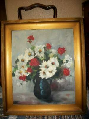 1930's Vintage Floral Oil Painting Art Deco Gilt Frame Roses Chic Shabby Oldie