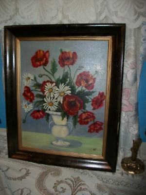 VINTAGE FLORAL POPPIES DAISIES ROSES CHIC OIL PAINTING 1940's COTTAGE PARIS APT