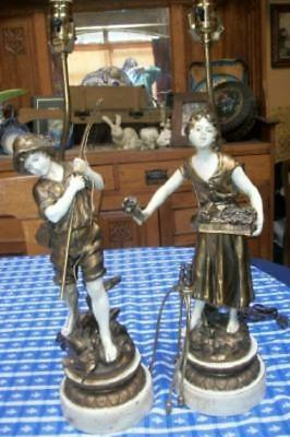 ANTIQUE FRENCH MOREAU FIGURAL LAMPS TOLE Incredible Detail PARIS APT
