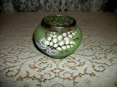 Antique Victorian French Tiffin Satin Glass Bead Flower Frog Epergne Chic Shabby