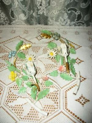 Italian Tole Floral Sconces Chic Shabby Cottage Colors Gilt Vintage Chippy