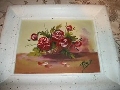 Vintage Chic Roses Oil Painting Creamy Chippy Shabby Cottage Paris Apt