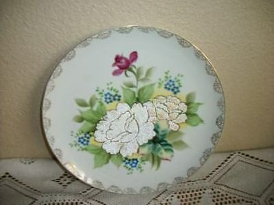 CHIC SHABBY TIFFIN LIKE GLASS BEADS FLORAL Lg PLATE VINTAGE COTTAGE UNUSUAL