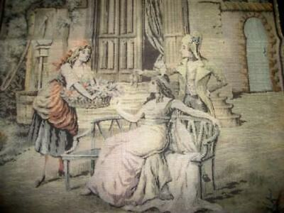 FRENCH ANTIQUE VINTAGE 1920s CHATEAU ROMANTIC TAPESTRY PARIS APT SHABBY CHIC
