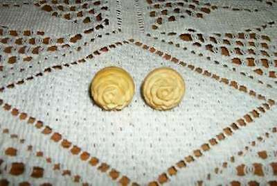 Vintage Carved Rose Roses Celluloid Screw Back Earrings Buttery