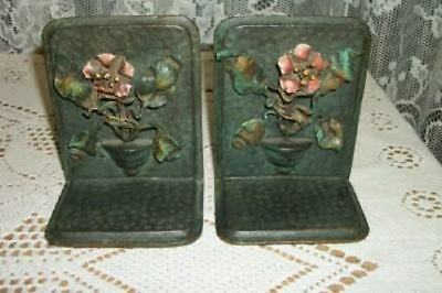 Antique Bronze French Tole Italian Bookends HP Flower Basket Hammered Verde RARE