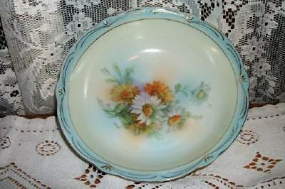 Hp Antique Germany Blue Daisy Porcelain Bowl Shabby Cottage Lovely