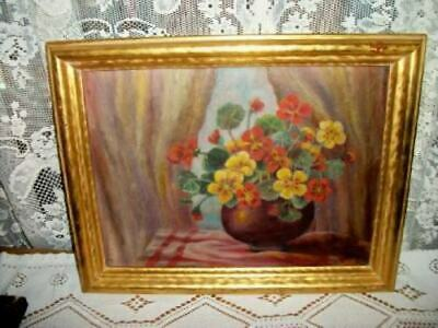 ROSES CHIC VINTAGE 20s PANSIES OIL PAINTING SHABBY ART DECO COTTAGE GILT